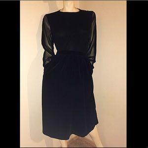 80s LAURA ASHLEY Black Velvet Skirt, with Pockets